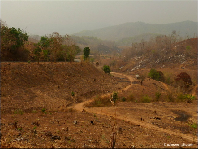 The bare hills are susceptible to landslides when the monsoon rains make the soil soggy.
